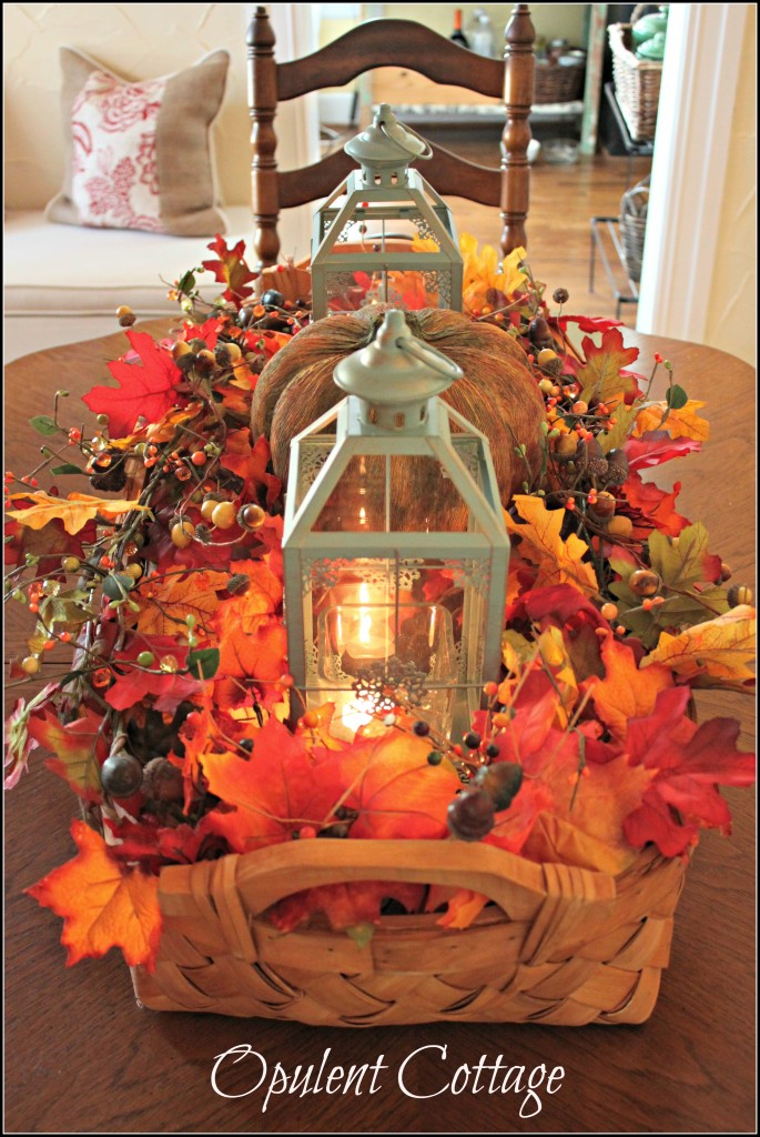 Autumn harvest basket in the middle