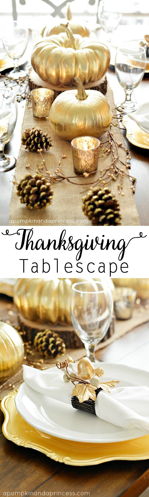 Thanksgiving inspired gold table decoration