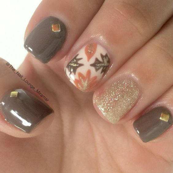Autumn autumn leaves nail design