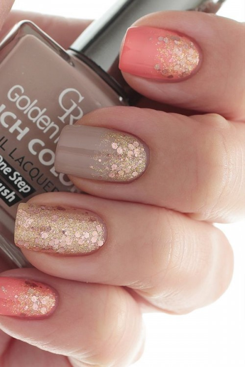 Autumn nails design with pastel and glitter