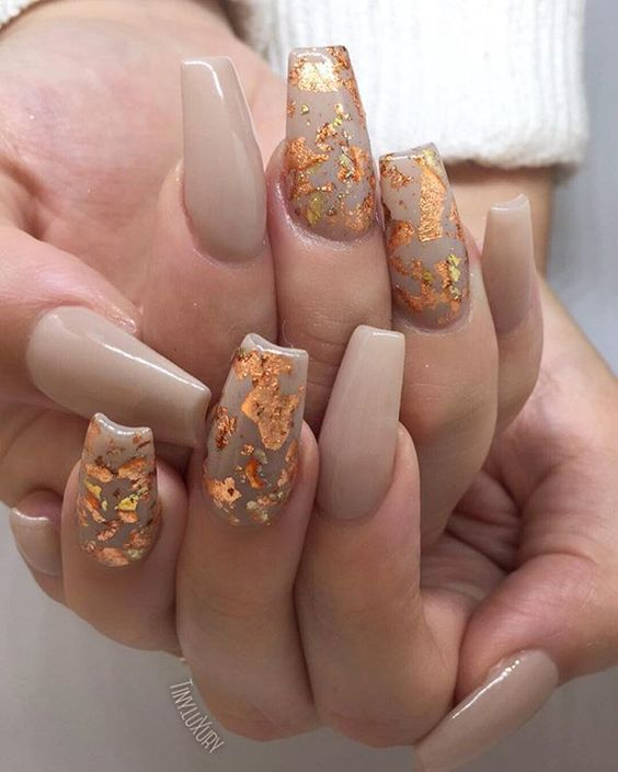 Gold Leaf Coffin Autumn Nail Art