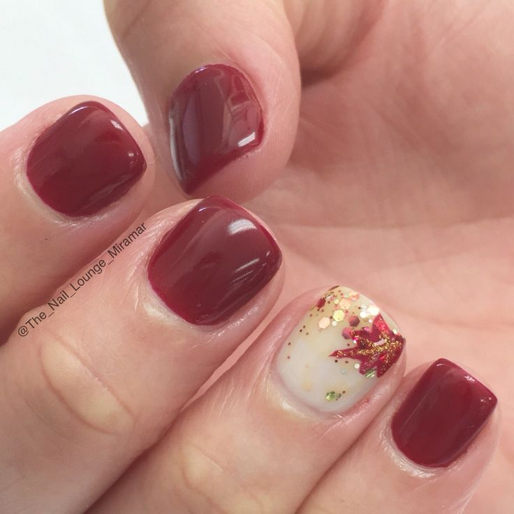 Plum Leaf Fall Nail Design