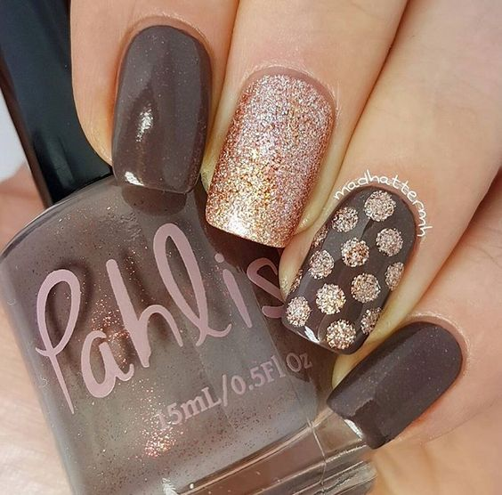 Polka dot autumn nails