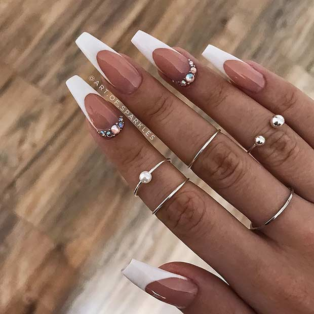 Long coffin nails with white finish