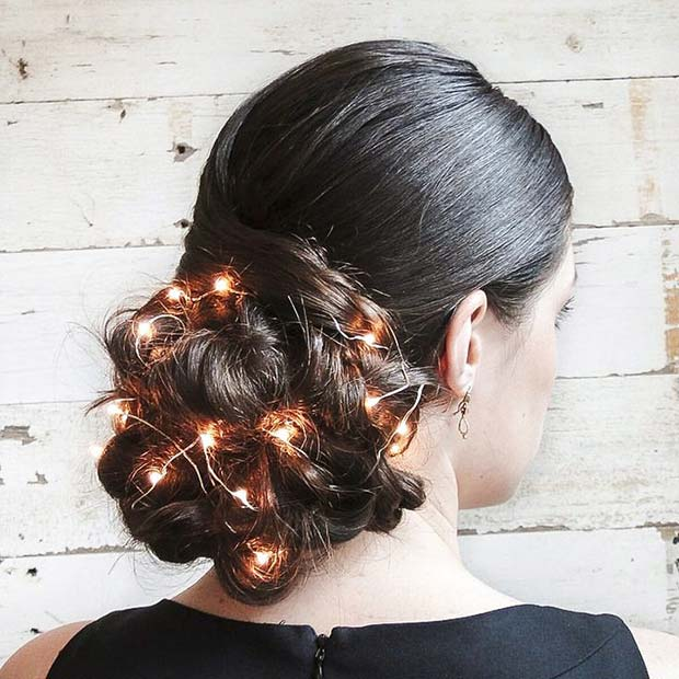 Knitted bun with fairy lights