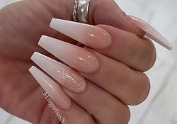 Nude glitter ombre nails