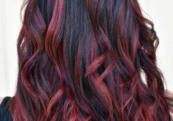 Black hair with dark red reflections