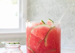 An invigorating watermelon cocktail punch