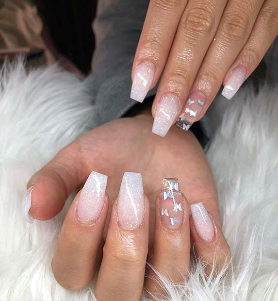 Clear accent nails and bright nails with beautiful butterflies
