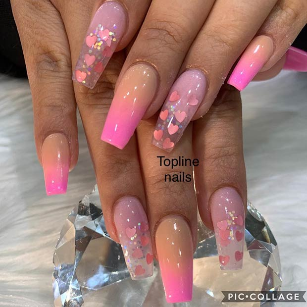 Cute transparent acrylic nails with hearts