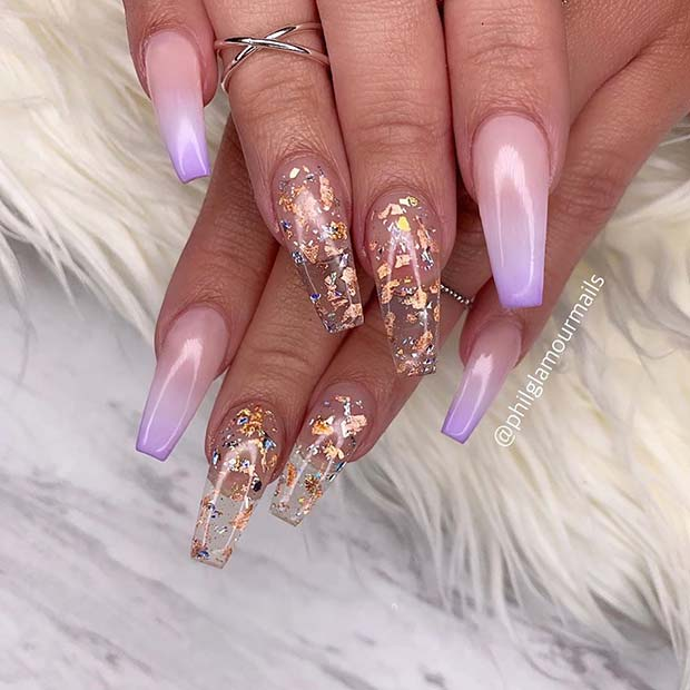 Clean nails with gold foil
