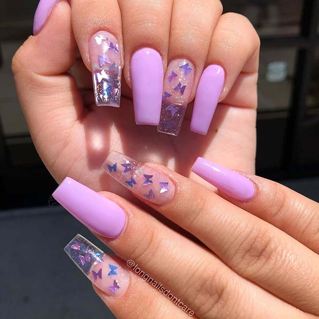 Clear butterfly nails design