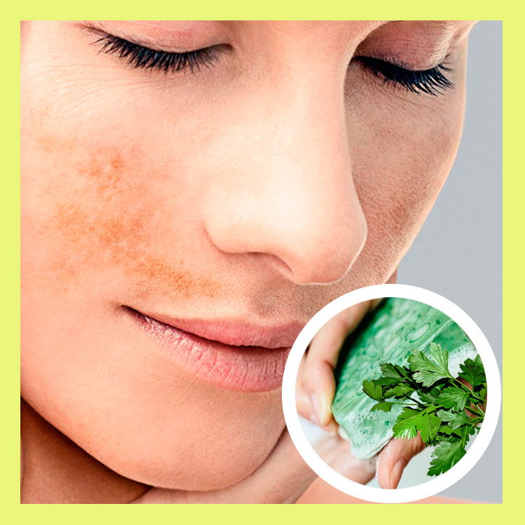 This homemade parsley soap removes blemishes on the face