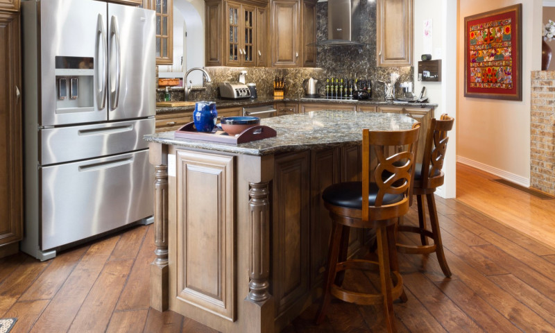 Kitchen floors with wooden cupboards