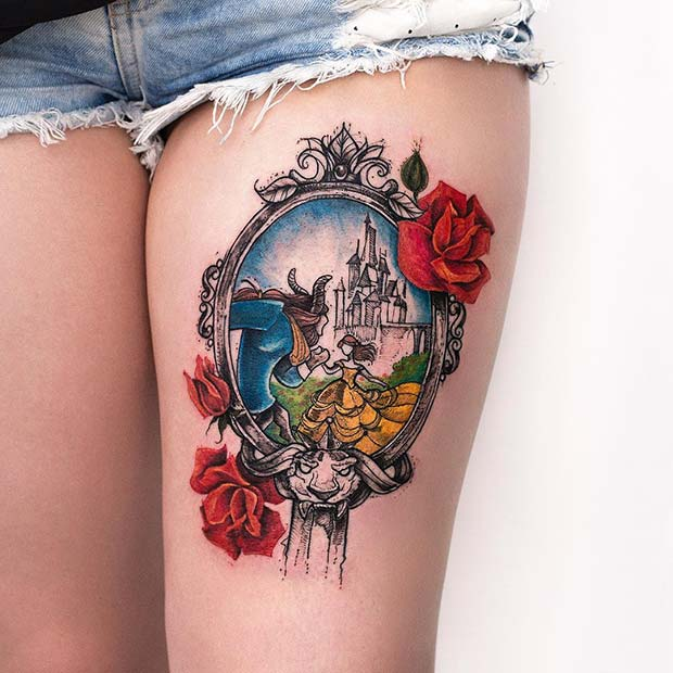 Beautiful and ugly inspired thigh tattoo