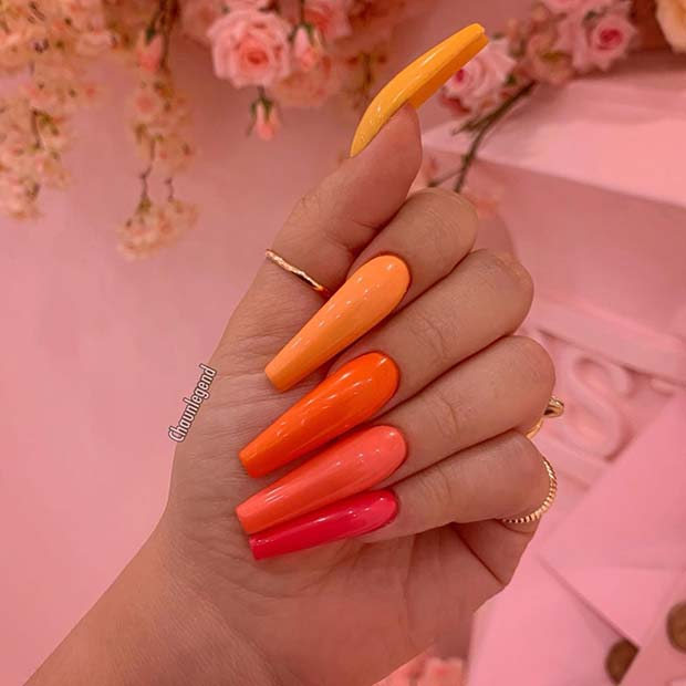 Colorful long coffin nails