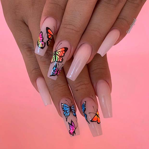 Naked nails with naked butterflies