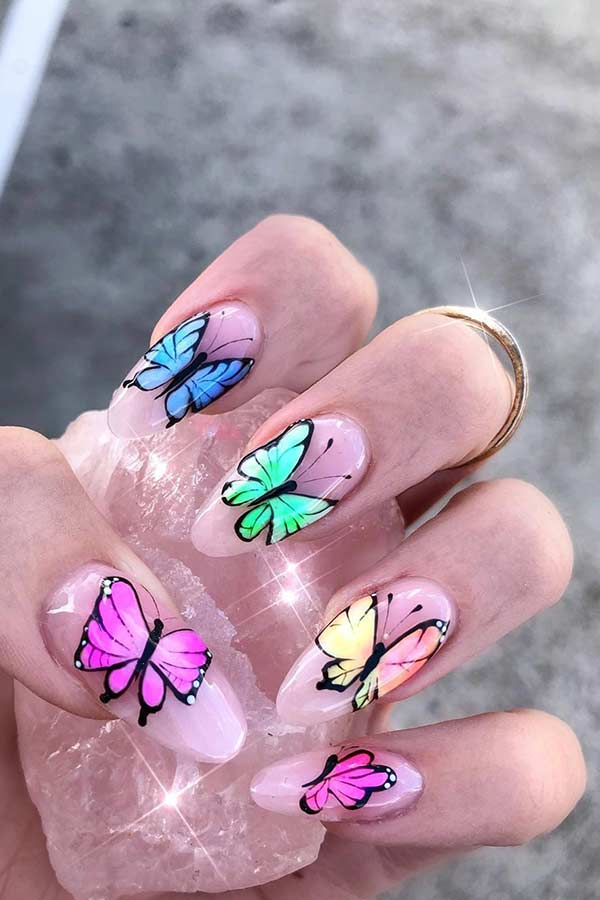 Colorful butterfly nails