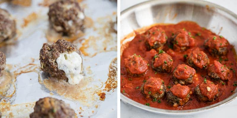 Meatballs filled with mozzarella cooked with marinara