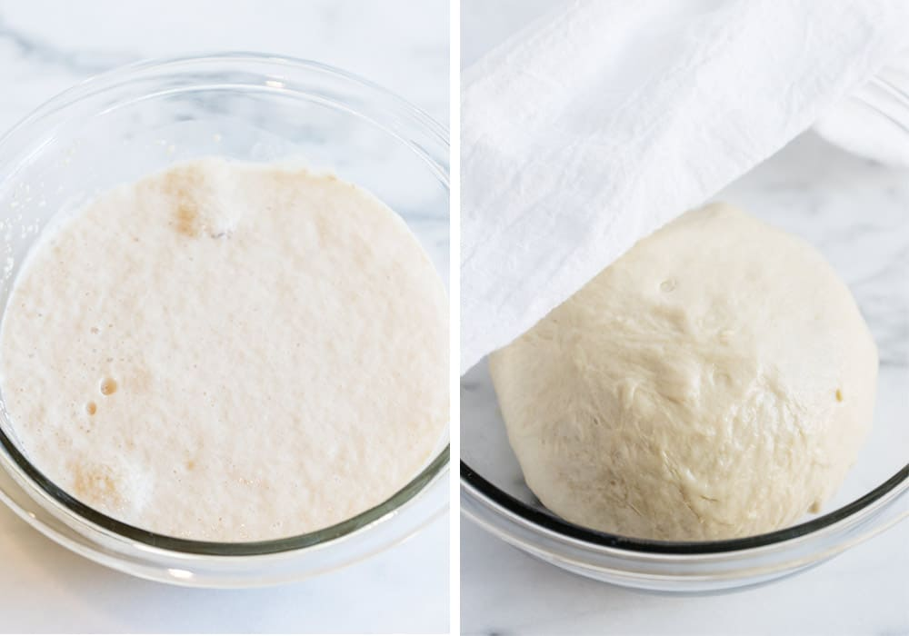 Let the pizza dough rise in a glass bowl