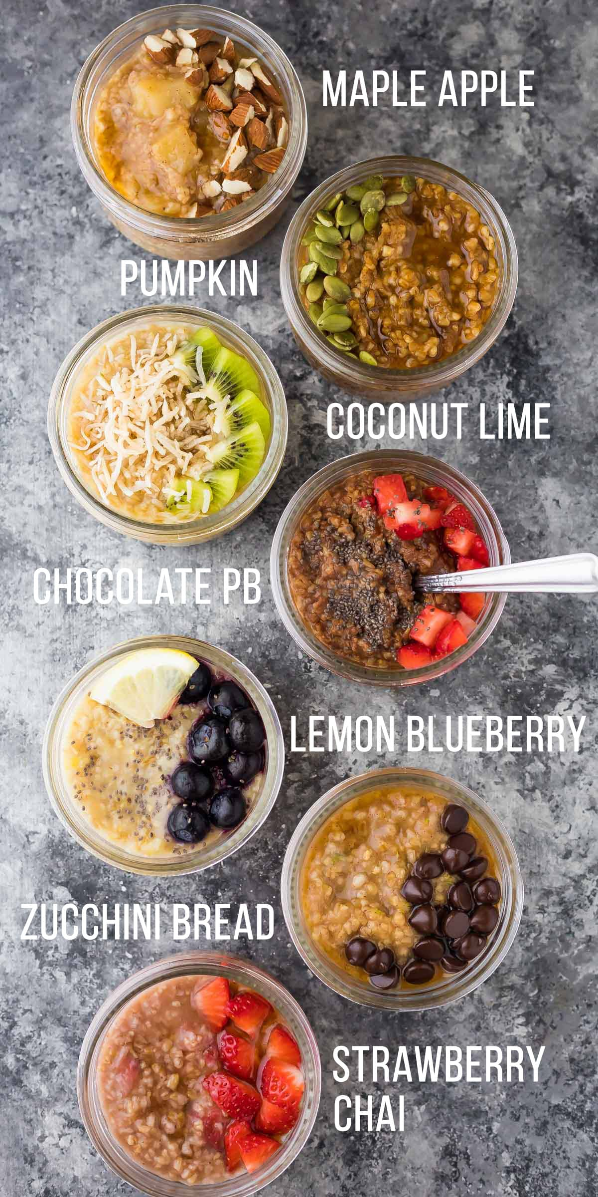 7 cups with various steel oat recipes