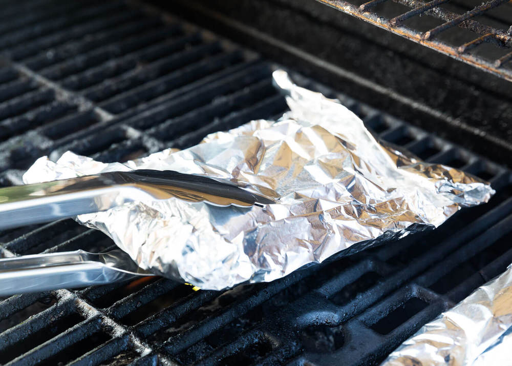 Foil chicken on the grill