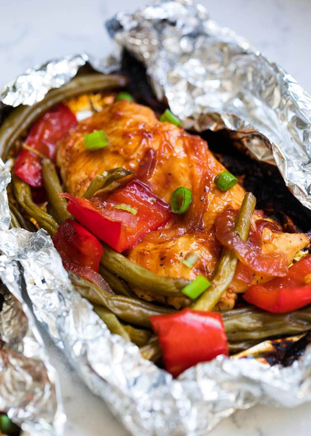 BBQ chicken foil package with vegetables