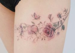 23 best rose thigh tattoo ideas for women