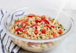 Orzo salad with homemade salad dressing