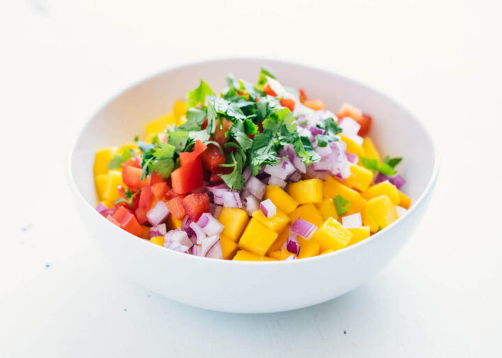 Ingredients for a bowl of mango salsa
