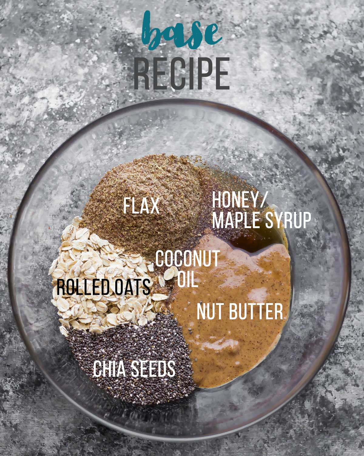No oven energy bites recipe in a bowl with the necessary ingredients for the base