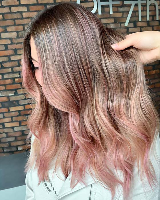 Pink traits for blonde hair