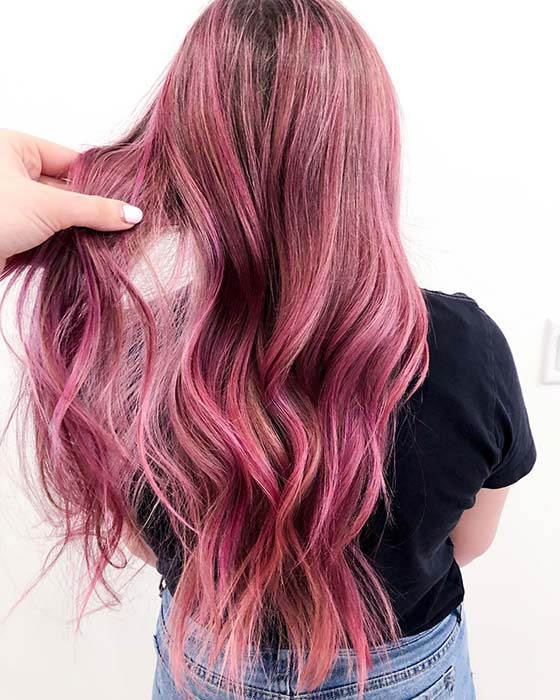 Thick pink hair color idea