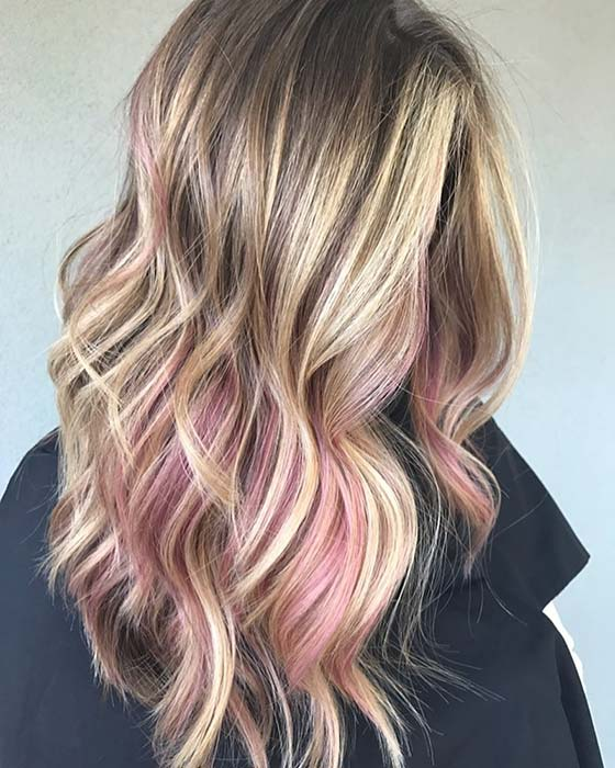 Low key pink features for blonde hair