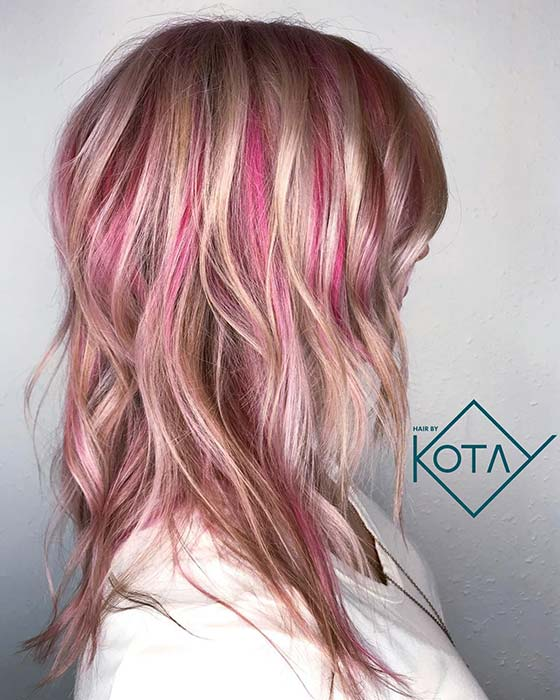 Idea of blonde and pink hair