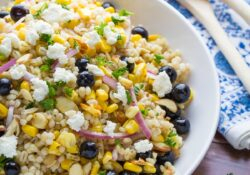 Summer barley salad with corn and blueberry