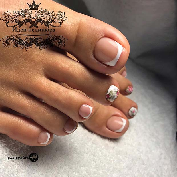 French tips with floral art