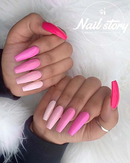 Thick pink coffin nail design