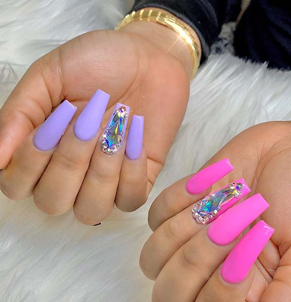 Purple and pink nail designs