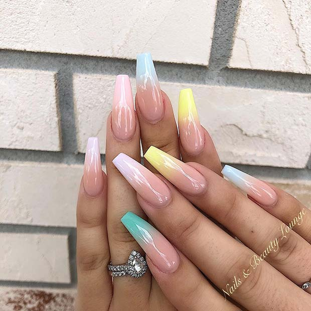 Soft and thin ombre nails