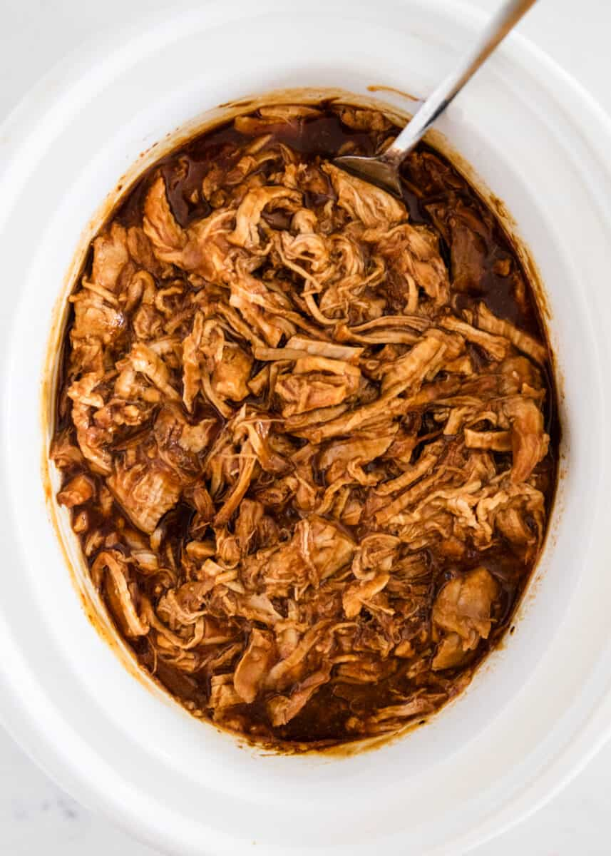 Grill pulled pork into slow cooker