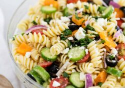 Greek Pasta Salad w/ Red Wine Vinaigrette