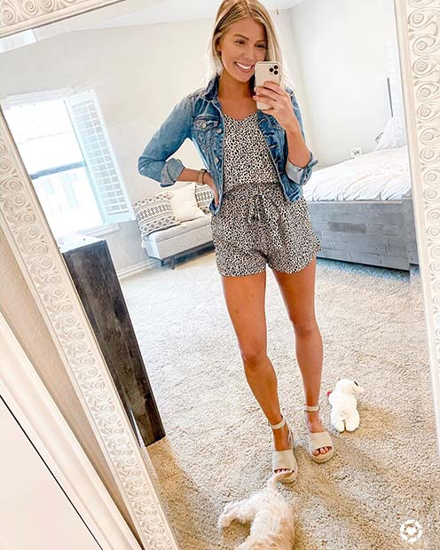 Romper and Denim Jacket
