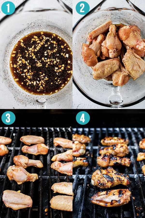 collage image showing how to grill chicken wings