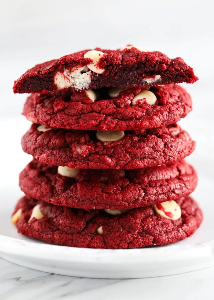 Stack of red velvet cakes mix biscuits on plate