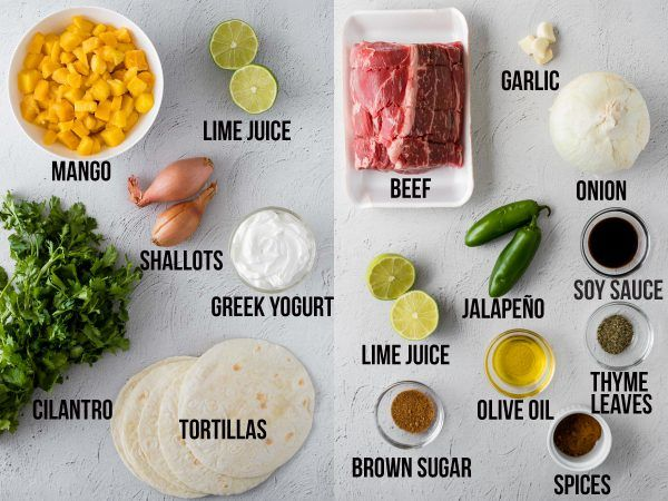overhead shot of the ingredients required to make jerk beef and mango salsa