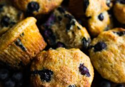 Healthy Blueberry Muffins (with crunchy tops!)