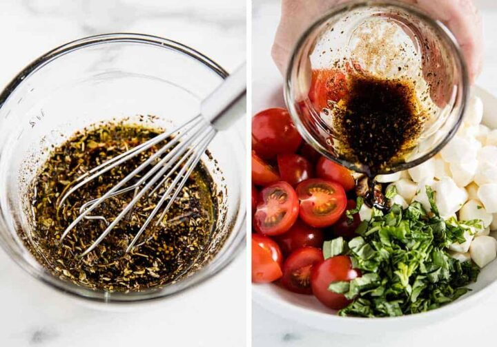 caprese salad dressing in glass bowl