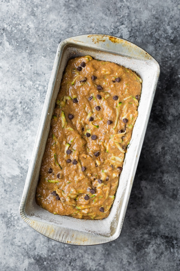 overhead view of the healthy zucchini bread recipe in loaf pan before baking