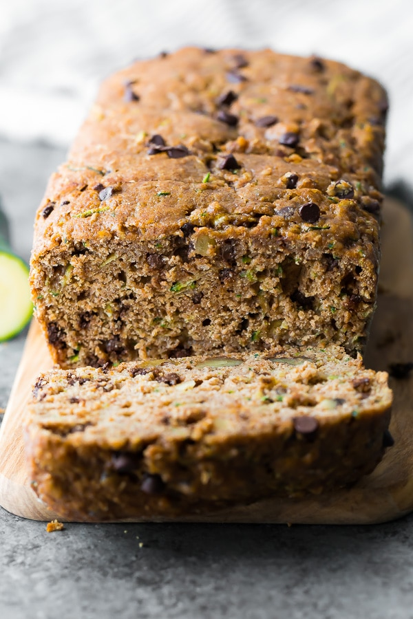 Close up shot of the chocolate chip zucchini bread sliced